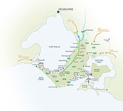 Click to get a larger Map of Mornington Peninsula and surrounds
